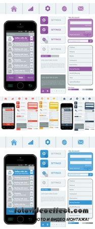 Stock: Interface elements using flat design