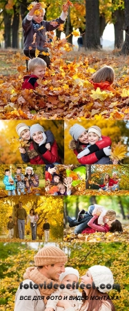 Stock Photo: Happy family autumn