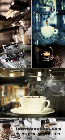 Stock Photo: Coffee machine with cup