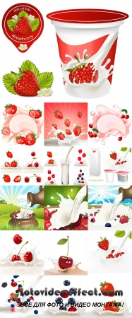 Stock: Fruits and berries in milk