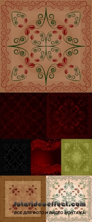 Stock: Carpet with flowers and leaves on coffee latte background
