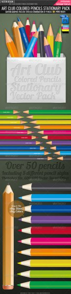 GraphicRiver Art club colored pencils vector pack RETAIL