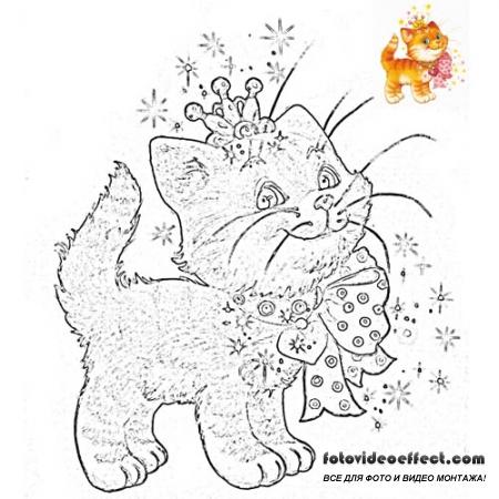 Разукрашка для малышей - Котенок в бантике и короной